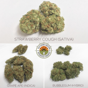 Bubblegum (hybrid) Grape Ape (Indica) Strawberry Cough (Sativa)