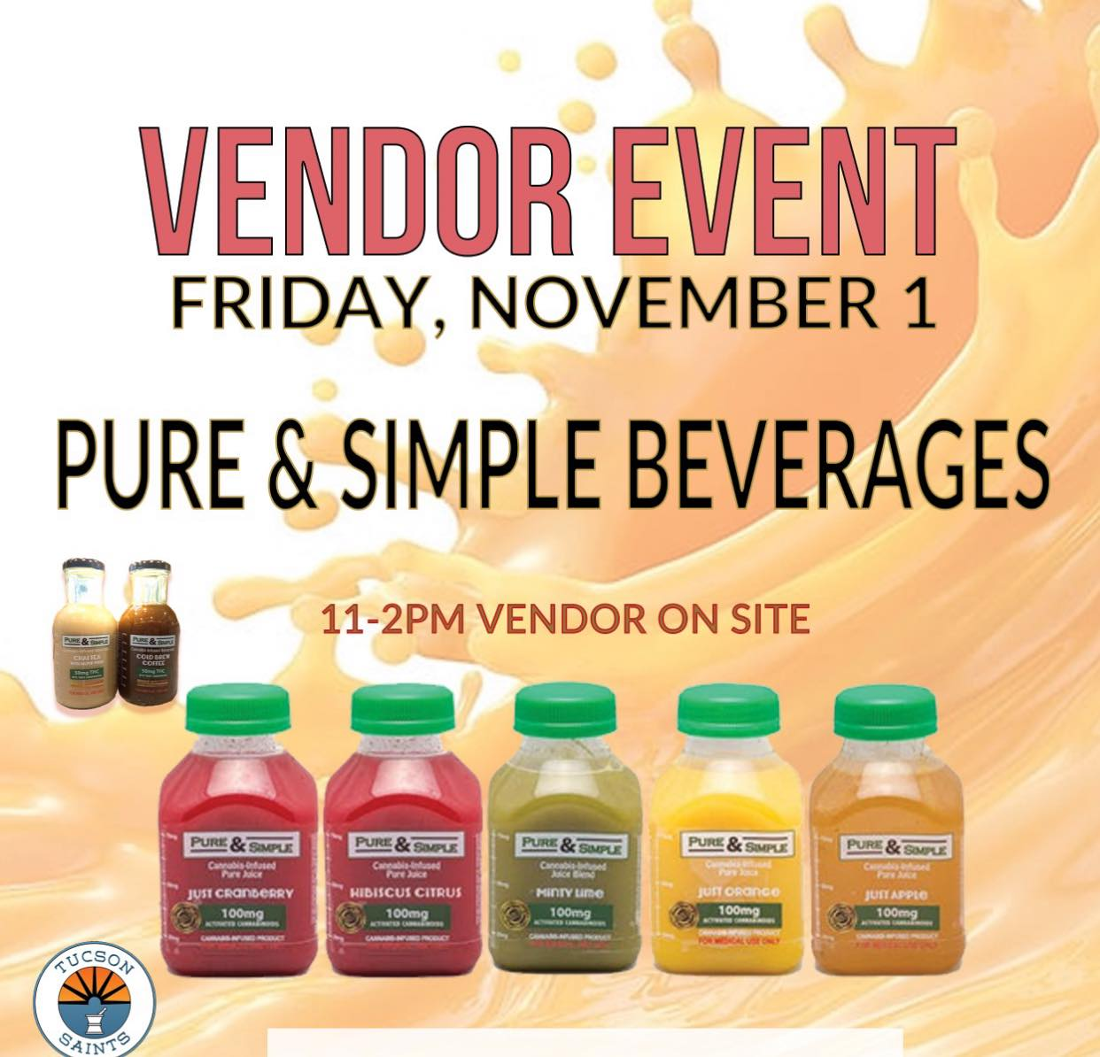 PURE and SIMPLE Beverages event at saints