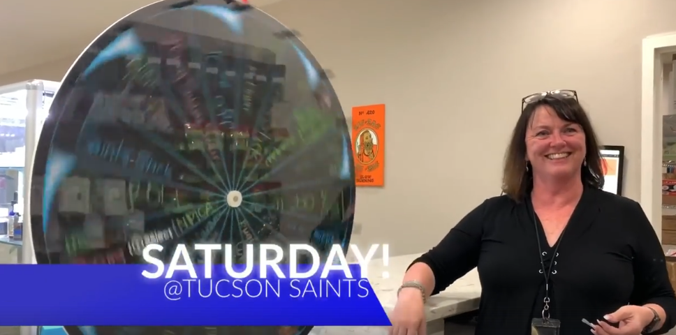Susan Crownhart spin wheel of winners tucson saints dispensary