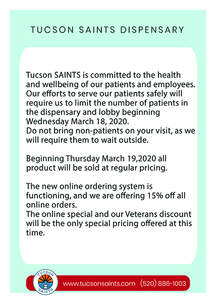 corona virus statement tucson dispensary