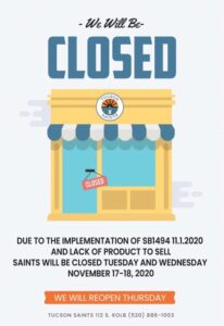 SB1494 testing closure saints dispensry 2020