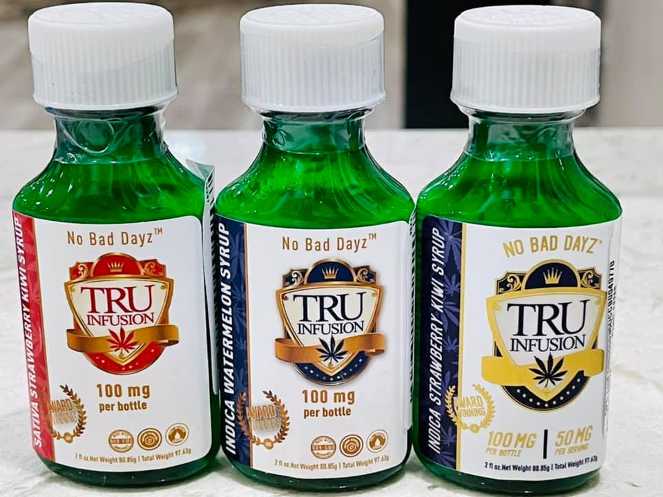 Tru Infusion Strawberry Kiwi, Watermelon, Peach Syrups Cannabis THC infused